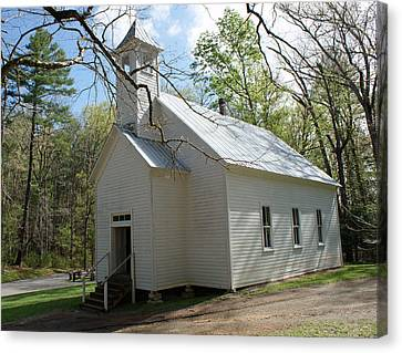Missionary Baptist Church In Cades Cove Canvas Print by Roger Potts