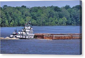 Mississippi River Barge Canvas Print by Dan Sproul