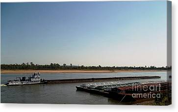 Canvas Print featuring the photograph Mississippi River Barge by Kelly Awad