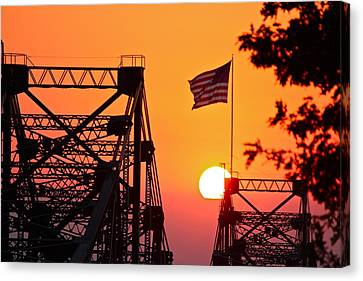 Canvas Print featuring the photograph Mississippi River Bridge Sunset by Jim Albritton