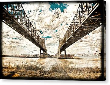 Canvas Print featuring the photograph Mississippi River Bridge Twin Spans by Ray Devlin