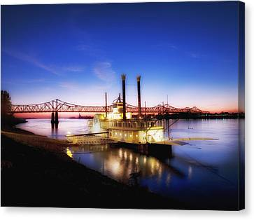 Mississippi River Casino Boat Sunset Canvas Print by Mountain Dreams