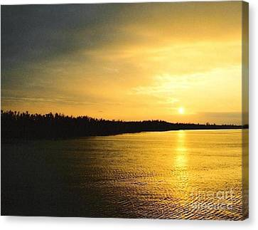 Canvas Print featuring the photograph Sunrise Over The Mississippi River Post Hurricane Katrina Chalmette Louisiana Usa by Michael Hoard