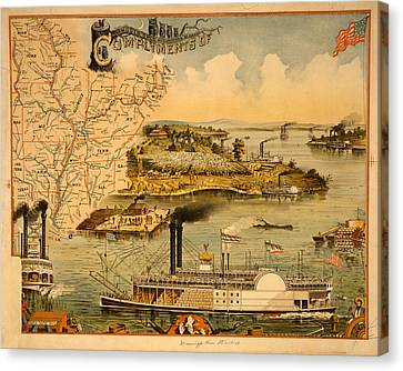 Mississippi River Steamboat  Executed By The Heliotype Canvas Print by Litz Collection