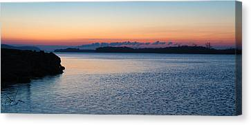 Mississippi River Sunrise Canvas Print by David Yunker
