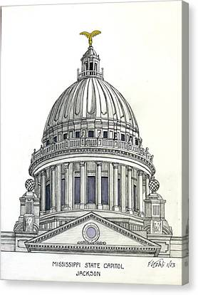 Mississippi State Capitol Canvas Print by Frederic Kohli