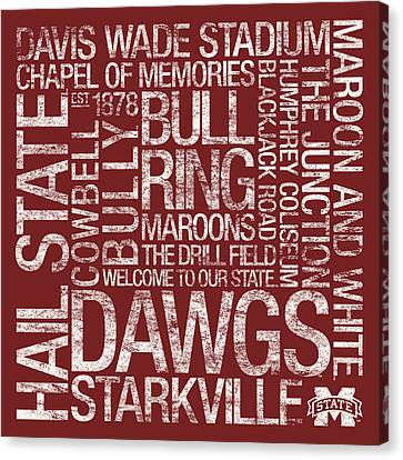 Mississippi State College Colors Subway Art Canvas Print by Replay Photos