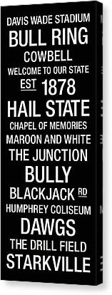 Mississippi State College Town Wall Art Canvas Print