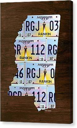 Mississippi State License Plate Map Art Canvas Print