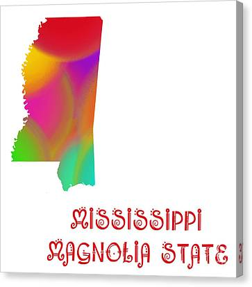 Mississippi State Map Collection 2 Canvas Print