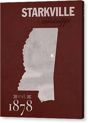 Mississippi State University Bulldogs Starkville College Town State Map Poster Series No 068 Canvas Print