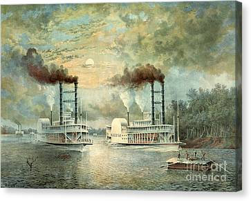 Mississippi Steamboat Race 1859 Canvas Print by Padre Art