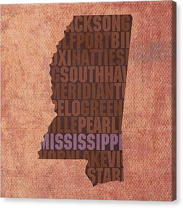 Mississippi Word Art State Map On Canvas Canvas Print