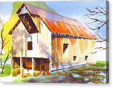 Missouri Barn In Watercolor Canvas Print