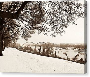 Pencil Sketch Canvas Print - Missouri River From Kansas by Chris Berry