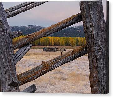 Old Cabins Canvas Print - Missouri River History by Leland D Howard
