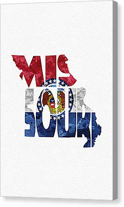 Missouri Typographic Map Flag Canvas Print by Ayse Deniz