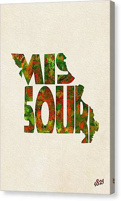 Missouri Typographic Watercolor Map Canvas Print by Ayse Deniz