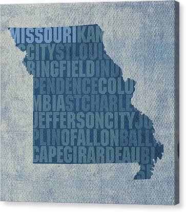 Missouri Word Art State Map On Canvas Canvas Print