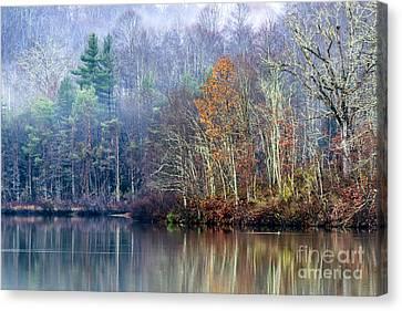 Mist Big Ditch Lake Canvas Print by Thomas R Fletcher