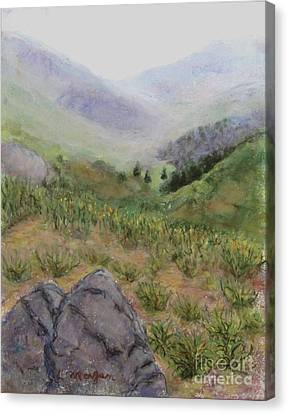 Mist In The Glen Canvas Print by Laurie Morgan