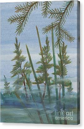 Mist In The Marsh Canvas Print by Robert Meszaros