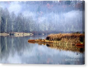 Mist On Lake Canvas Print by Thomas R Fletcher