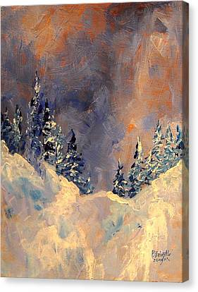 Mist On The Snow Peak Canvas Print by Patricia Brintle