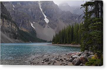 Mist Over Lake Moraine Canvas Print by Cheryl Miller