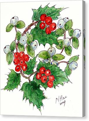 Mistletoe And Holly Wreath Canvas Print by Nell Hill