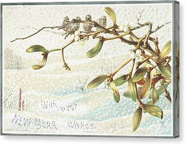 Mistletoe In The Snow Canvas Print by English School