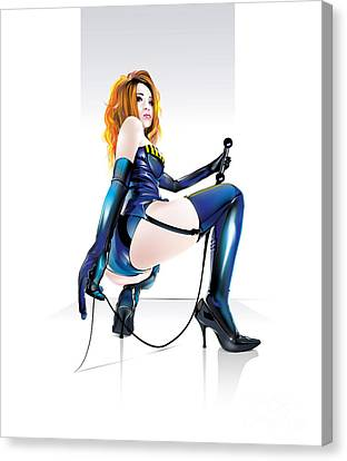 Canvas Print featuring the drawing Mistresskira V2 by Brian Gibbs