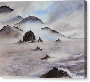 Mists Of Haystack Rock Canvas Print