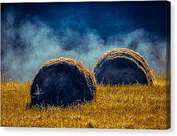 Misty Bales 2 Canvas Print by Brian Stevens