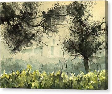 Misty Barn Canvas Print by Sam Sidders