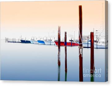 Misty Boats On The Outer Banks I Canvas Print by Dan Carmichael