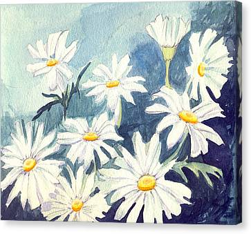 Misty Daisies Canvas Print by Katherine Miller