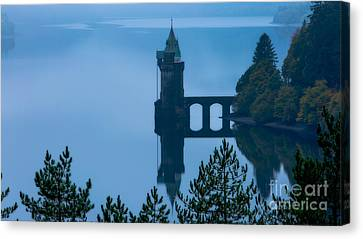 Misty Dawn And The Filter Tower Canvas Print by Pete Reynolds