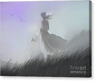 Flying Seagull Canvas Print - Misty Encounter by Robert Foster