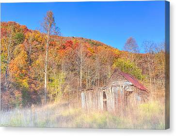 Misty Fall Morning In The Valley - North Georgia Canvas Print by Mark E Tisdale