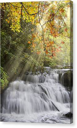 Misty Falls At Coker Creek Canvas Print by Debra and Dave Vanderlaan