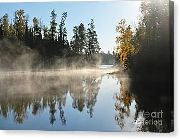 Misty Farewell To Jordan Lake Canvas Print by Larry Ricker