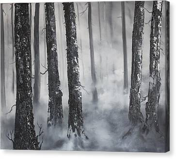 Canvas Print featuring the painting Misty Forest by Jean Walker