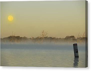 Misty Lake Canvas Print by Charles Beeler