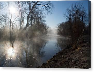 Misty Morning Along James River Canvas Print by Jennifer White