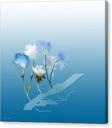 Canvas Print featuring the digital art Misty Morning Flowers by Asok Mukhopadhyay