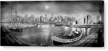 Misty Morning Harbour - Bw Canvas Print