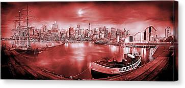 Misty Morning Harbour - Red Canvas Print