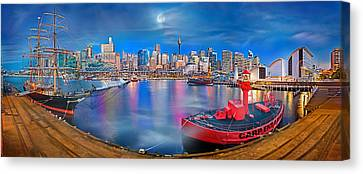 Misty Morning Harbour Canvas Print