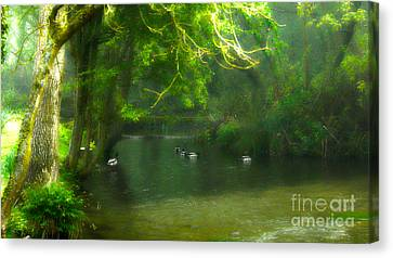 Misty Morning In Clatford Canvas Print